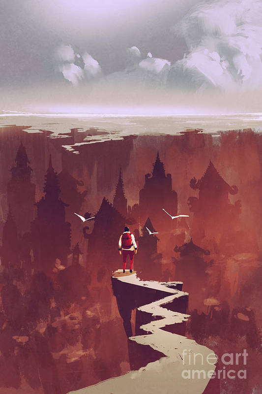 City Art Print featuring the digital art Man Standing On Rock Path Looking At by Tithi Luadthong