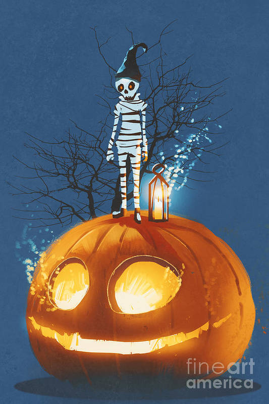 Concept Art Print featuring the digital art Mummy Standing On Giant Pumpkin,jack O by Tithi Luadthong