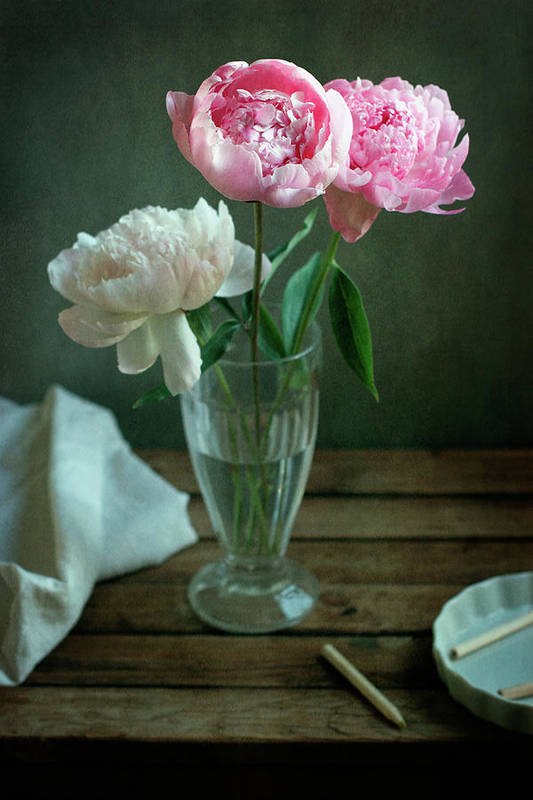 Photos.com by Getty Images & Peony Flowers In Glass Vase Art Print