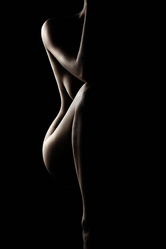 Nude Art Print featuring the photograph Silhouette Of Nude Woman by Johan Swanepoel