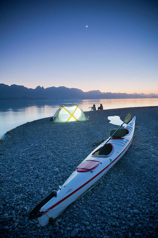 Tranquility Art Print featuring the photograph Sunset, Couple Beach Camping With Kayak by Stephen Simpson