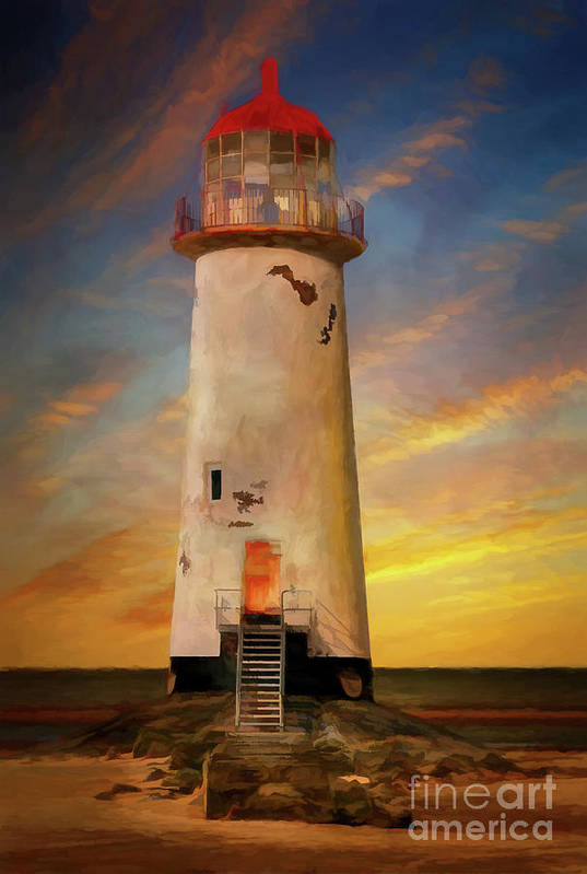 Lighthouse Art Print featuring the photograph The Point Of Ayr Lighthouse Sunset by Adrian Evans