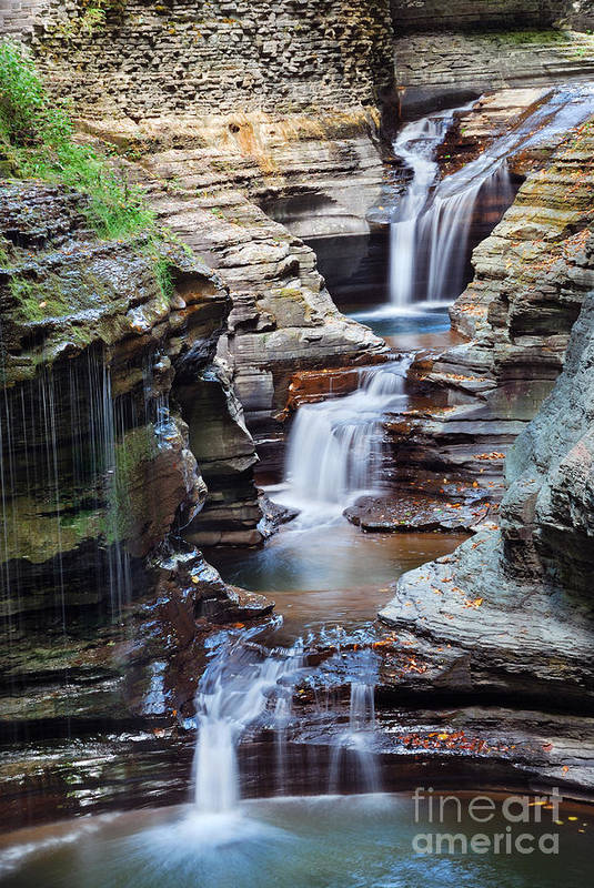 Pond Art Print featuring the photograph Waterfall Closeup In Woods With Rocks by Songquan Deng