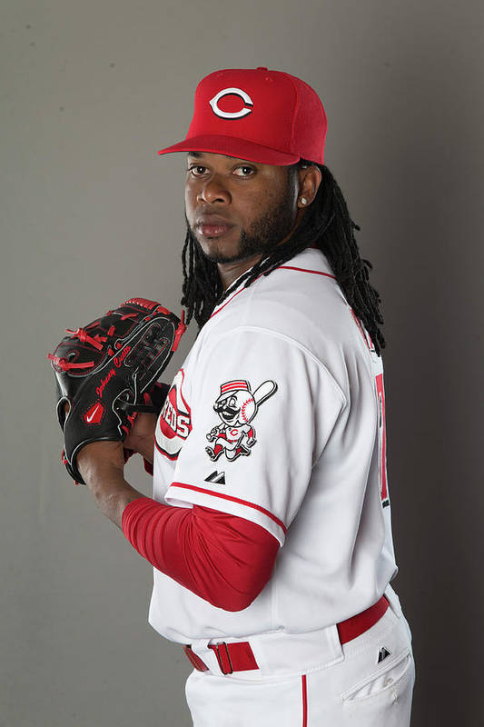 American League Baseball Art Print featuring the photograph Johnny Cueto by Mike Mcginnis