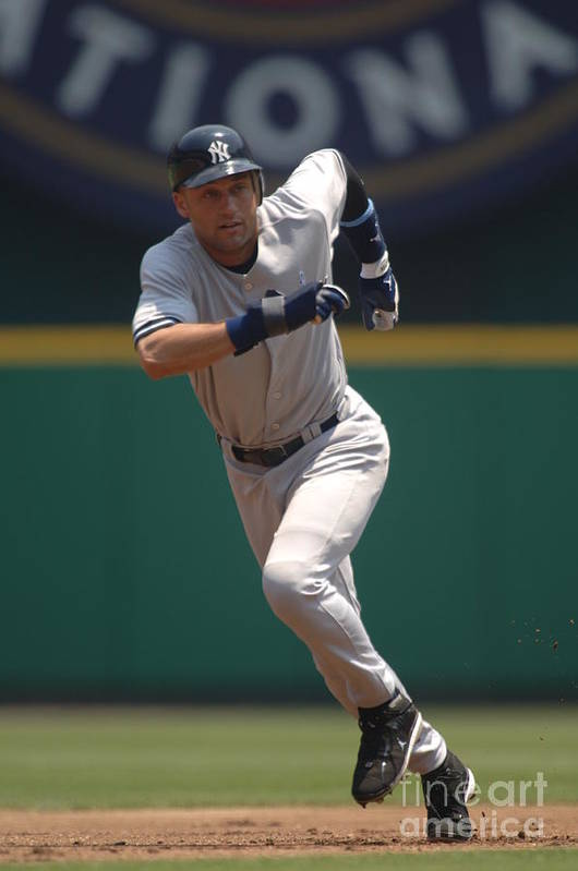 People Art Print featuring the photograph Derek Jeter by Mitchell Layton
