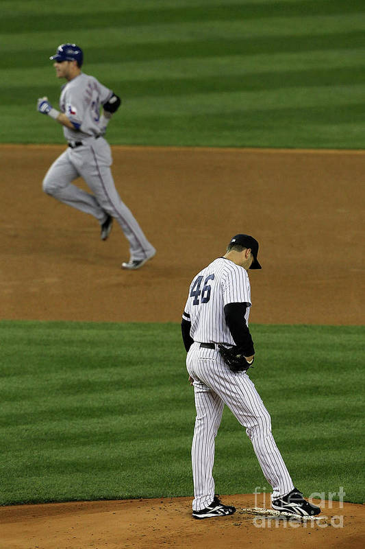 Playoffs Art Print featuring the photograph Josh Hamilton And Andy Pettitte by Jim Mcisaac