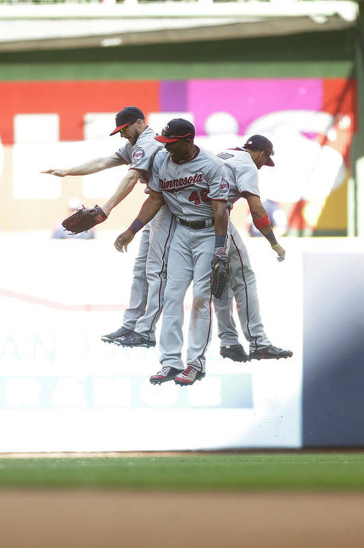 People Art Print featuring the photograph Torii Hunter And Eduardo Escobar by Mike Mcginnis