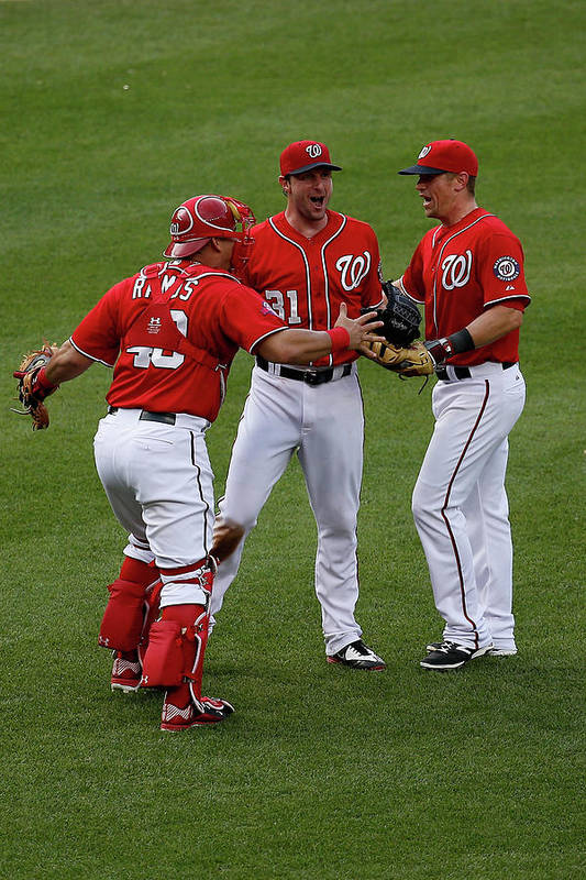 People Art Print featuring the photograph Wilson Ramos, Max Scherzer, And Tyler Moore by Rob Carr