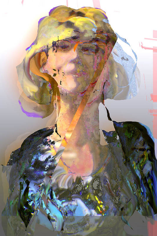 Portrait Art Print featuring the mixed media Olga by Noredin Morgan