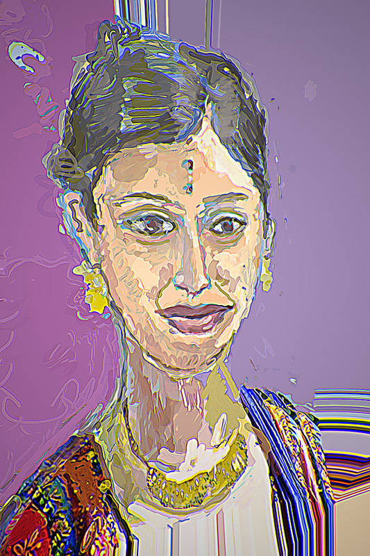 Portrait Art Print featuring the mixed media Gopika II by Noredin Morgan