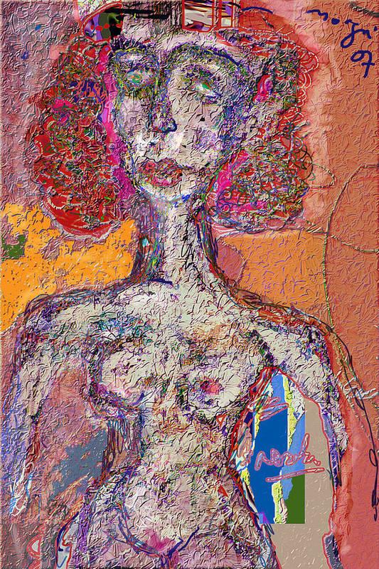 Nude Art Print featuring the mixed media Rashida by Noredin Morgan