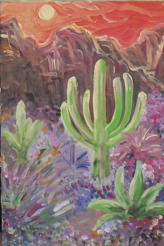 Landscape Art Print featuring the painting Shivering Sunrise by Lindsay St john