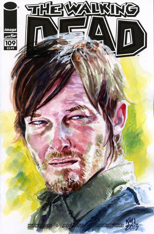 Walking Dead Art Print featuring the painting Walking Dead Daryl by Ken Meyer jr