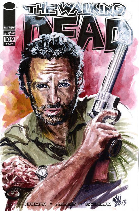 Walking Dead Art Print featuring the painting Walking Dead Rick by Ken Meyer jr