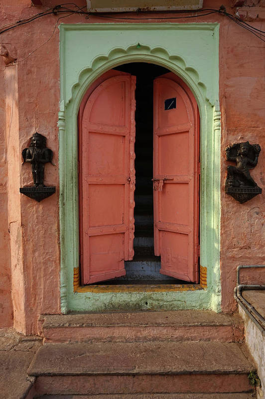 Description Art Print featuring the photograph Old Doors India, Varanasi by Stereostok