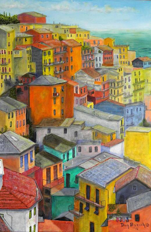 Seaside Art Print featuring the painting A Cinque Terre Village by Dan Bozich