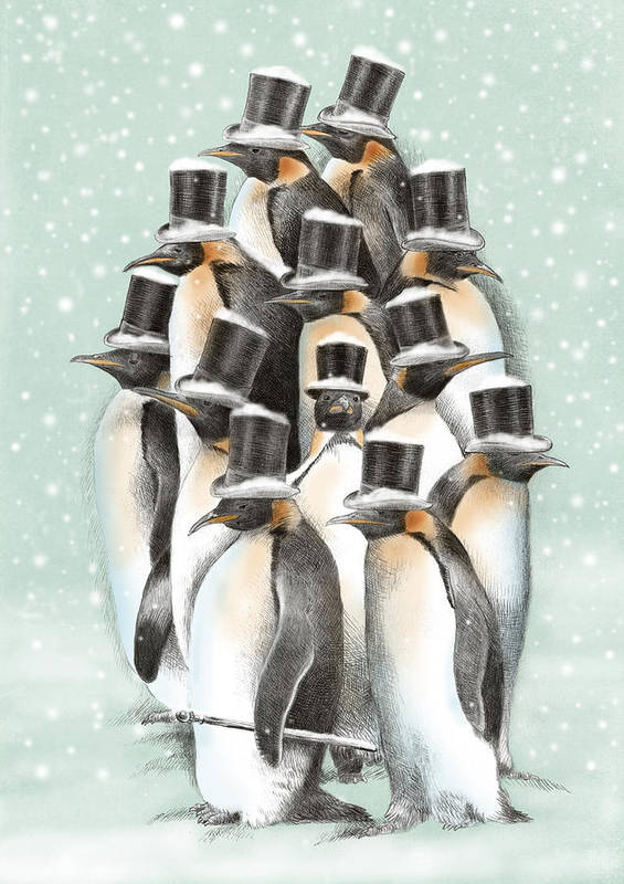 Penguins Art Print featuring the drawing A Gathering in the Snow by Eric Fan