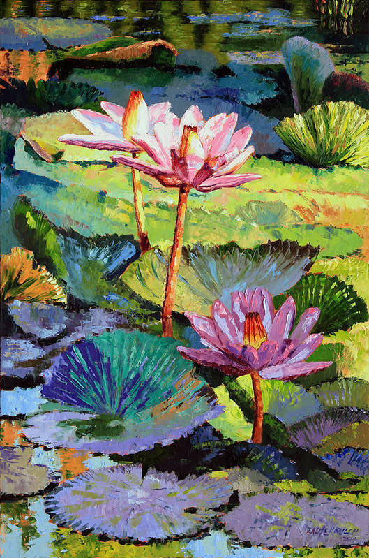 Water Lilies Art Print featuring the painting A Moment In Sunlight by John Lautermilch