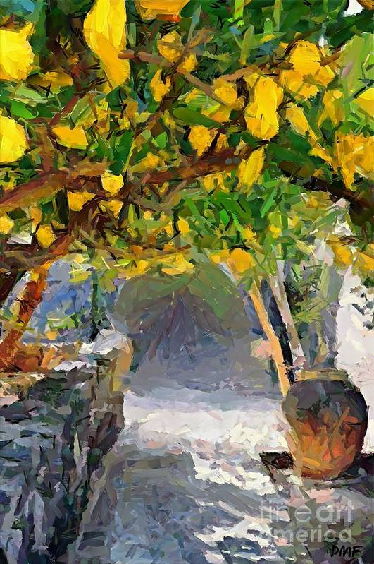 Landscapes Art Print featuring the painting A Voult Of Lemons by Dragica Micki Fortuna