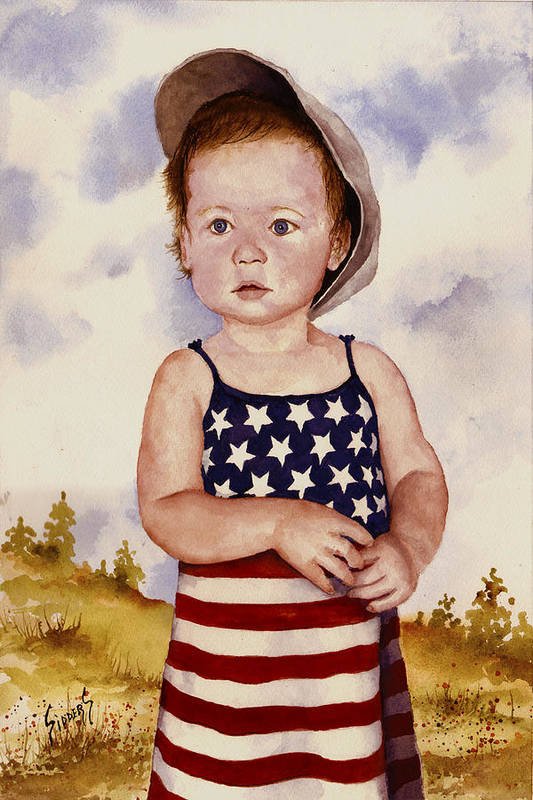 Kid Art Print featuring the painting An All American Girl Named Ireland by Sam Sidders