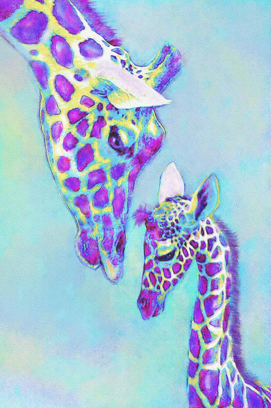 Jane Schnetlage Art Print featuring the digital art Aqua And Purple Loving Giraffes by Jane Schnetlage