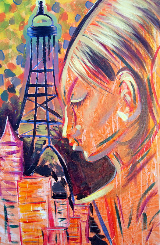 Girl Art Print featuring the painting Art In The City by Lorinda Fore