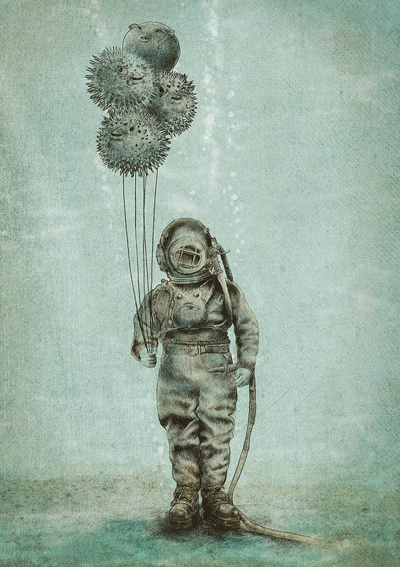 Ocean Art Print featuring the drawing Balloon Fish by Eric Fan