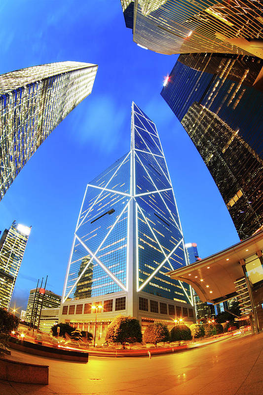 Corporate Business Art Print featuring the photograph Bank Of China Hong Kong by Samxmeg