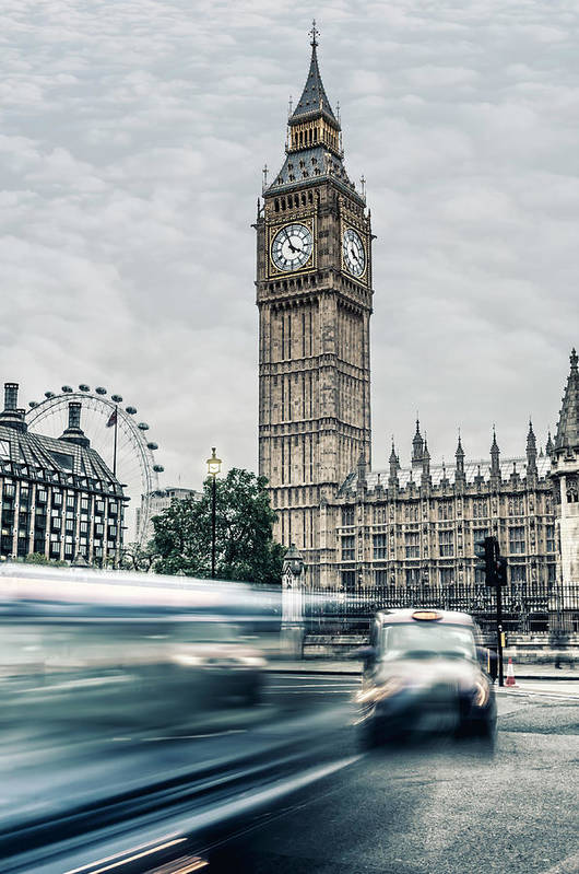 Gothic Style Art Print featuring the photograph Big Ben At Dusk With Passing Traffic - by Alpamayophoto