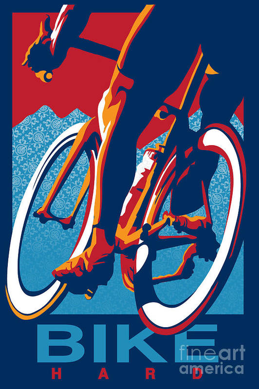 Retro Cycling Poster Art Print featuring the painting Bike Hard by Sassan Filsoof
