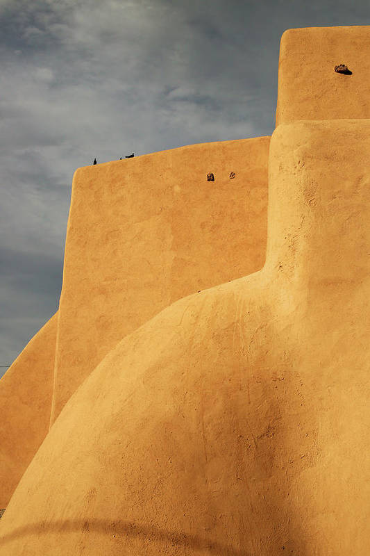 Built Structure Art Print featuring the photograph Birds Perched On A Yellow Building by Win-initiative