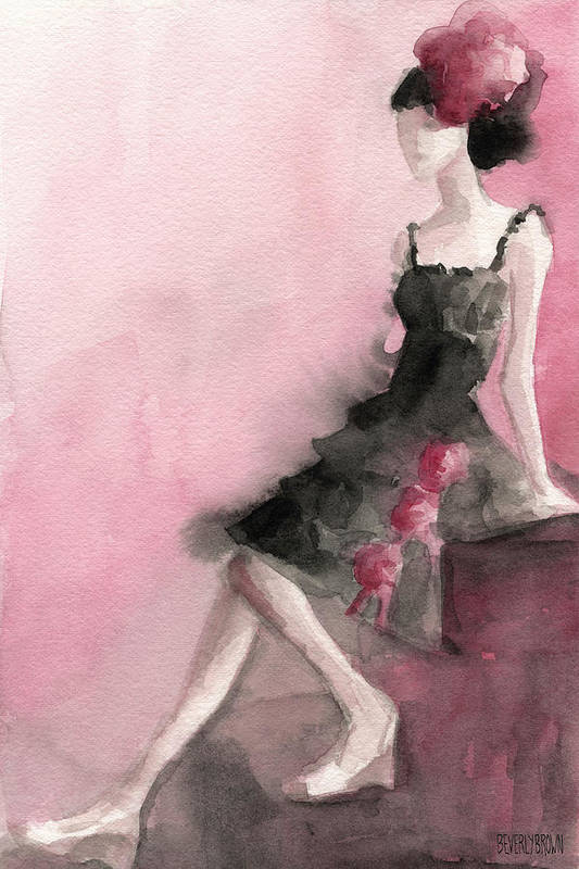 Fashion Art Print featuring the painting Black Ruffled Dress With Roses Fashion Illustration Art Print by Beverly Brown Prints