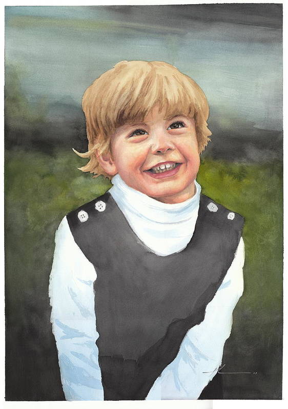 <a Href=http://miketheuer.com Target =_blank>www.miketheuer.com</a> Boys First Portrait Watercolor Painting Art Print featuring the drawing Boys First Portrait Watercolor Painting by Mike Theuer
