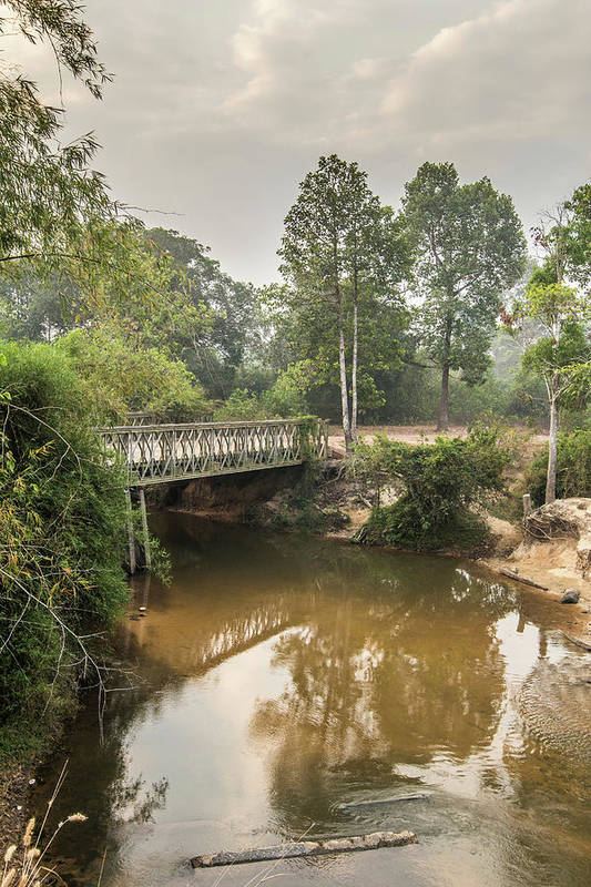 Tranquility Art Print featuring the photograph Bridge Over Siem Reap River On The Road by Cultura Exclusive/gary Latham