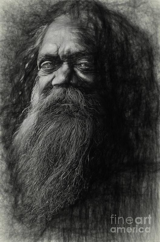 Busker Art Print featuring the photograph Cedric aboriginal busker by Sheila Smart Fine Art Photography