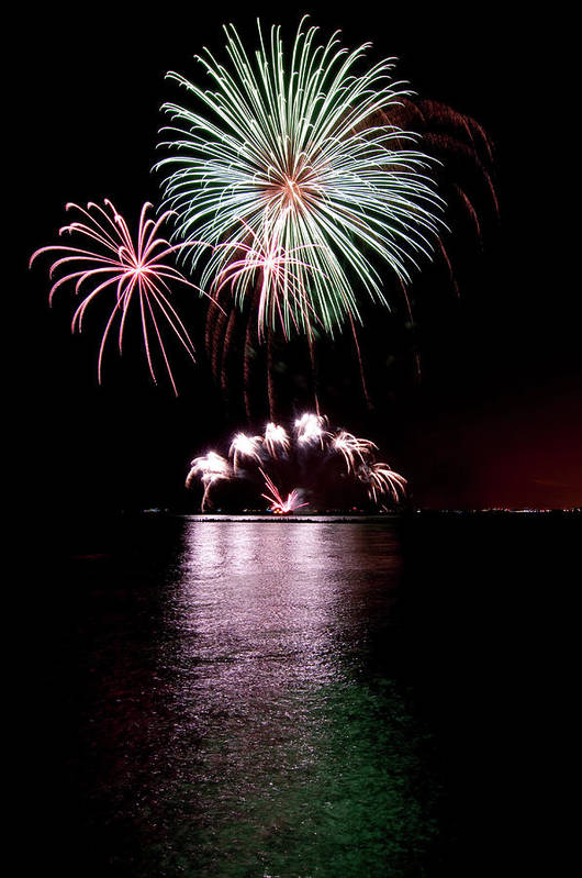 Lake Michigan Art Print featuring the photograph Chicago Fireworks by 400tmax