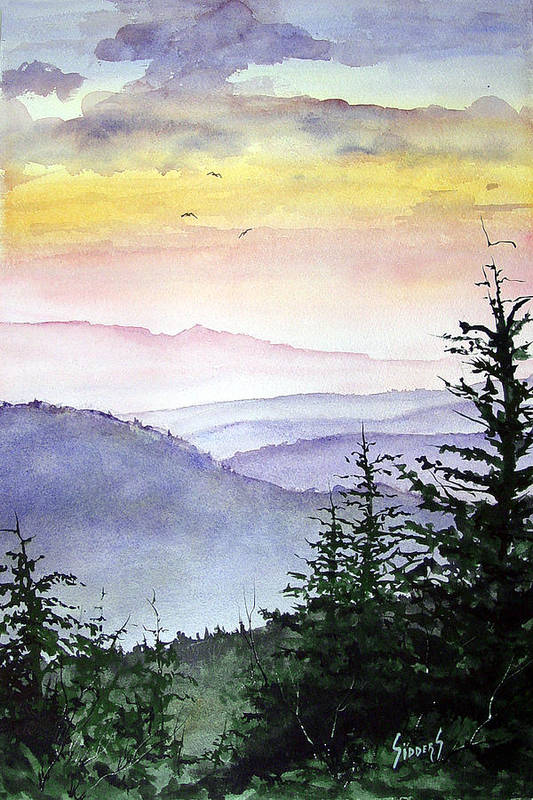 Mountains Art Print featuring the painting Clear Mountain Morning II by Sam Sidders
