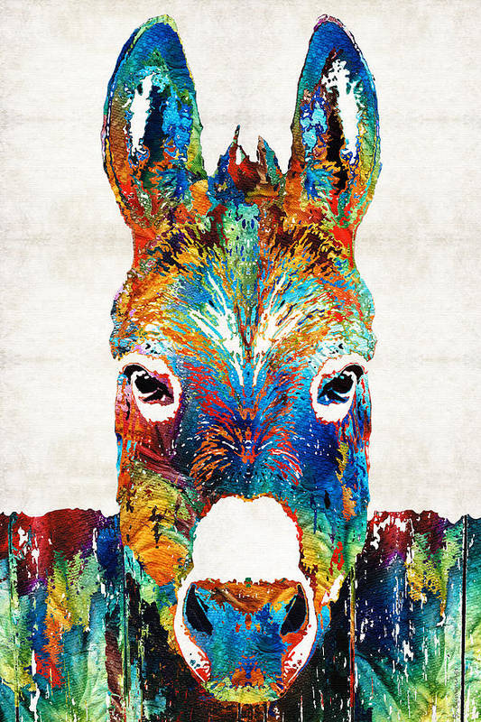 Donkey Art Print featuring the painting Colorful Donkey Art - Mr. Personality - By Sharon Cummings by Sharon Cummings