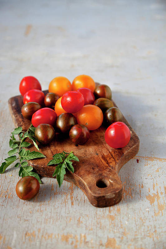 Cutting Board Art Print featuring the photograph Colorful Tomatoes by ©tasty Food And Photography