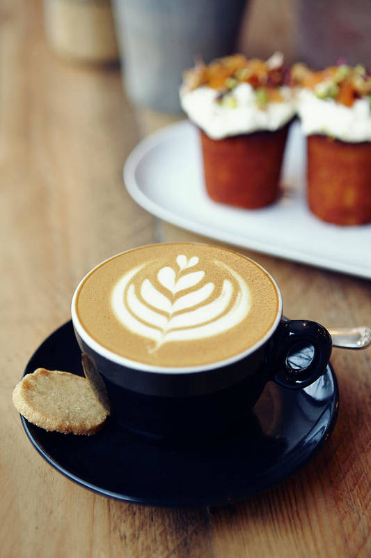 Bakery Art Print featuring the photograph Cup Of Coffee With Leaf Pattern On by Jake Curtis
