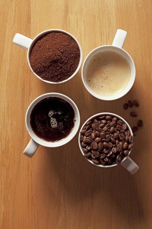 Shadow Art Print featuring the photograph Cups Of Coffee And Coffee Beans by Larry Washburn