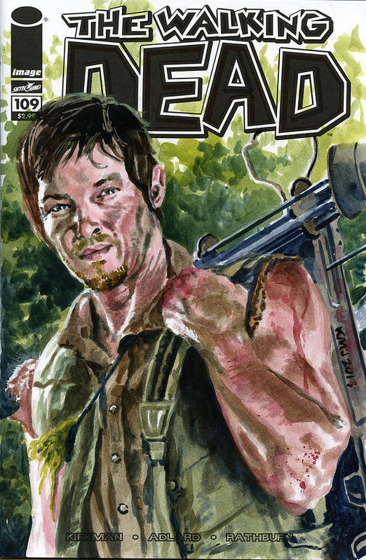 Daryl Dixon Art Print featuring the painting Daryl Walking Dead by Ken Meyer jr