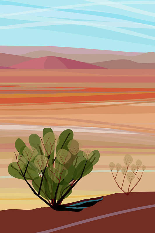Saguaro Cactus Art Print featuring the photograph Desert, Cactus Brush, Mountains In by Charles Harker