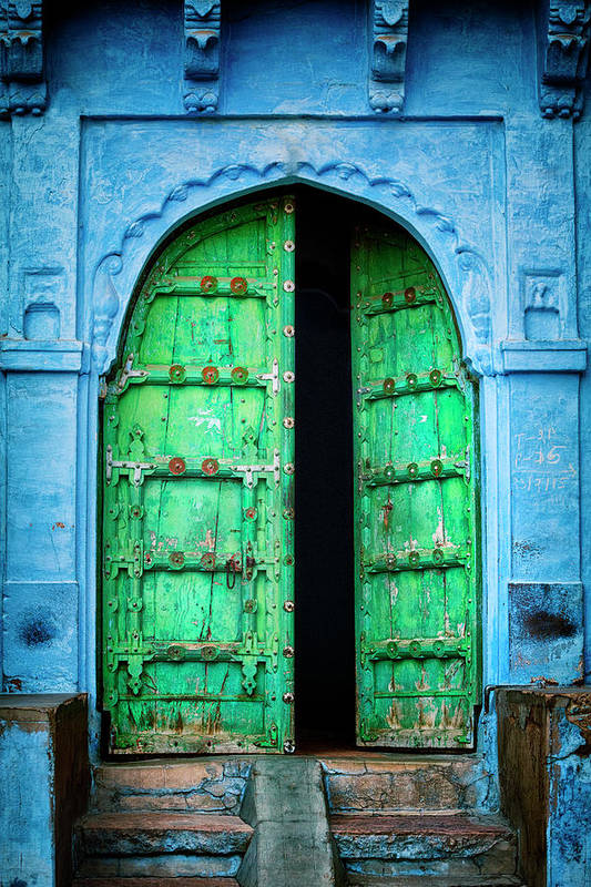 Architectural Feature Art Print featuring the photograph Door In The Blue City - Jodhpur, India by Powerofforever
