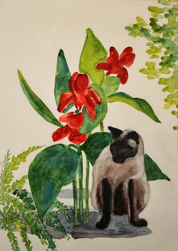 Art Print featuring the painting Flealing by Helen Hickey