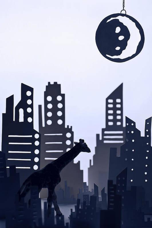 White Background Art Print featuring the digital art Giraffe Walking Around The City by Dina Belenko Photography