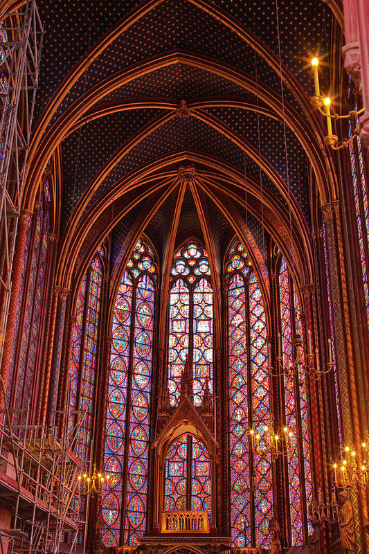 Gothic Style Art Print featuring the photograph Gothic Architecture Inside Sainte by Julian Elliott Photography
