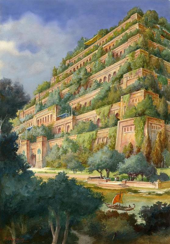 Seven Wonders Of The Ancient World Art Print featuring the drawing Hanging Gardens Of Babylon by English School
