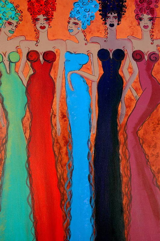 Sisters Art Print featuring the painting Haute Colours by Helen Gerro