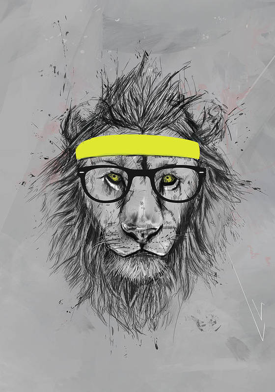 Lion Art Print featuring the drawing Hipster lion by Balazs Solti